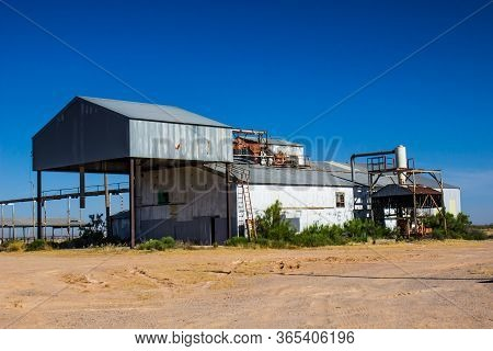 Old Closed Grain Building With Corrugated Tin Roofs