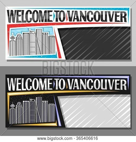 Vector Layouts For Vancouver With Copy Space, Decorative Voucher With Line Illustration Of Vancouver