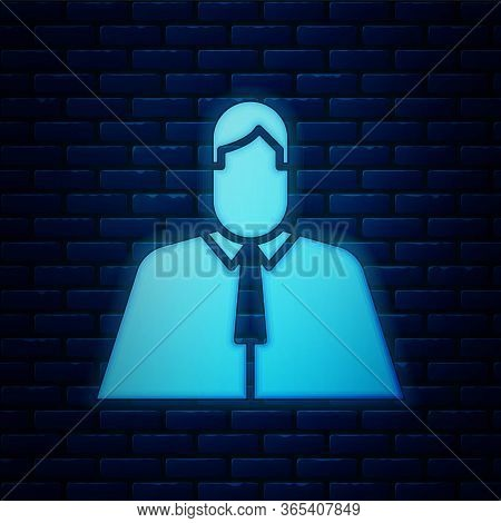 Glowing Neon Lawyer, Attorney, Jurist Icon Isolated On Brick Wall Background. Jurisprudence, Law Or