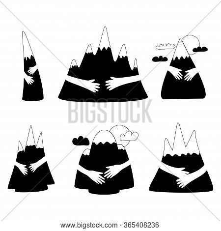 Mountain Hug In Black And White Color. Cute Cartoon Set When Hands Hugged Hills With Love. Vector Il