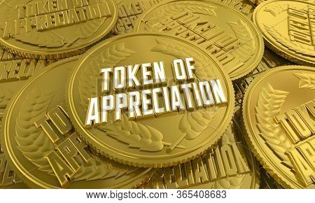 Token of Appreciation Coin Thank You Gratitude Recognition 3d Illustration