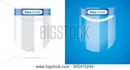 Set Of Face Shields On White And Colored Backgrounds. Plastic Face Cover For Corona Virus Disease Pr