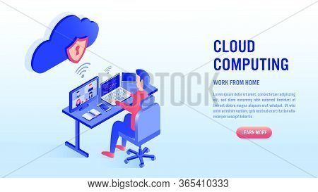 Man Working On Laptop With Video Conference Concept. Work From Home, Coding, Cloud Computing And Onl