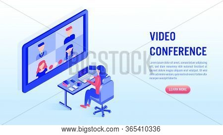 Woman Working On Laptop With Video Conference Concept. Work From Home, Online Meeting. Illustrations