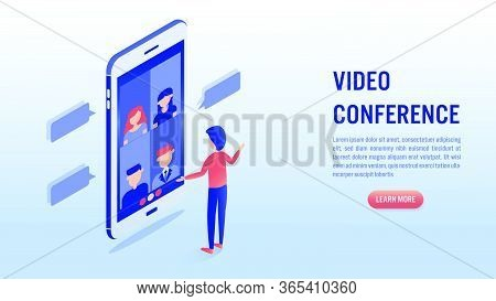 Video Conference Online Meeting Concept. Businessman Makes Video Call With His Colleague On Smartpho