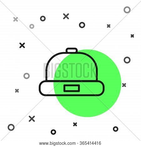 Black Line Beanie Hat Icon Isolated On White Background. Vector Illustration