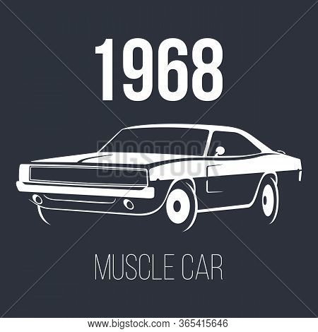 American Muscle Car White Vector Illustration Isolated