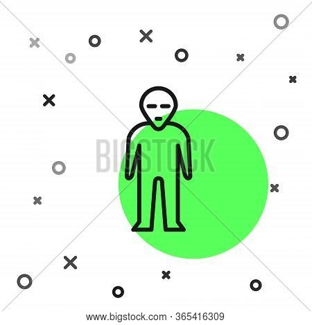Black Line Alien Icon Isolated On White Background. Extraterrestrial Alien Face Or Head Symbol. Vect
