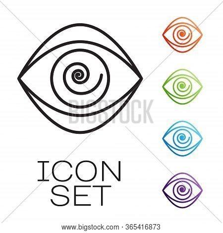 Black Line Hypnosis Icon Isolated On White Background. Human Eye With Spiral Hypnotic Iris. Set Icon