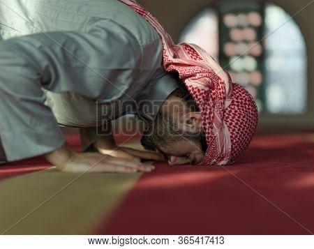 muslim prayer inside the mosque in namaz  worship Allah