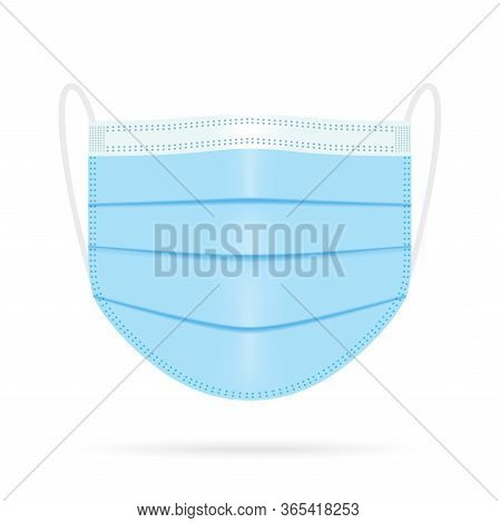 Blue Medical Face Mask. Vector Illustration Of Corona Virus Protection Mask. Surgical, Disease Prote
