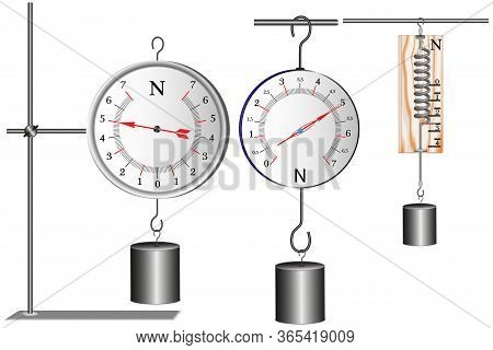 A Demonstration School Dynamometer That Shows The Strength Of The Action, The Force Is Measured In N