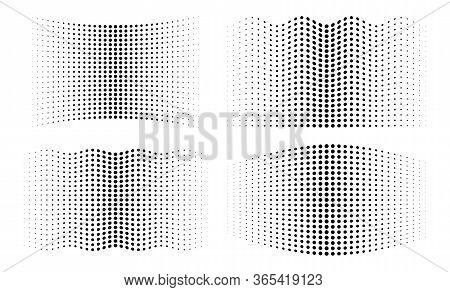 Halftone Wavy Distorted Gradient Circle Dots Backgrounds Set. Horizontal Distort Waved Templates Usi