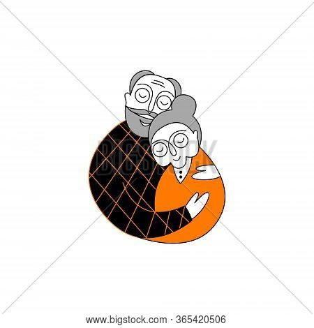 Happy Senior Couple Embraces Affectionately. Elderly Couple In Love. Happy Valentine's Day Vector Gr