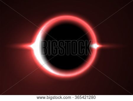 Supermassive Black Hole Or Solar Eclipse. Red Deep Space. The Black Hole Destroys The Red Star. Vect