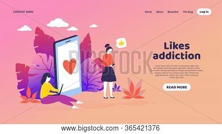 Social Media Landing Page. Trendy Mockup With Cartoon Customer Characters Get Like Notifications. Ve