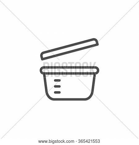 Plastic Dinnerware Line Outline Icon Isolated On White. Kitchen Container. Box For Picnic, Dinner. V