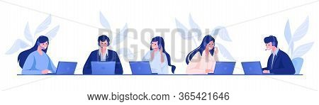Call Center. Customer Support And Information Service Concept With Cartoon Office People, Operators