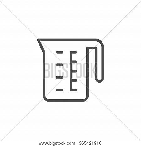 Measuring Cup Line Outline Icon Isolated On White. Measurement Container With Scale For Water And Dr