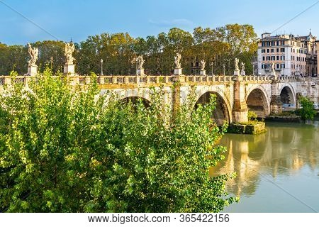 Rome, Italy - November 04 2018: Bridge Of Angels (ponte Sant'ngelo) A Public Roman Pedestrian Bridge