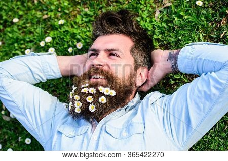 Hipster On Peaceful Face Lays On Grass, Top View. Man With Long Beard And Mustache, Defocused Green