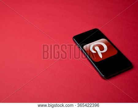 Usa - May, 2020 Pinterest App On Iphone Display On Colored Background. Pinterest Is A Social Media W