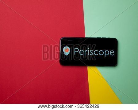 Usa - May, 2020 Periscope Iphone Screen On Colored Background. Periscope