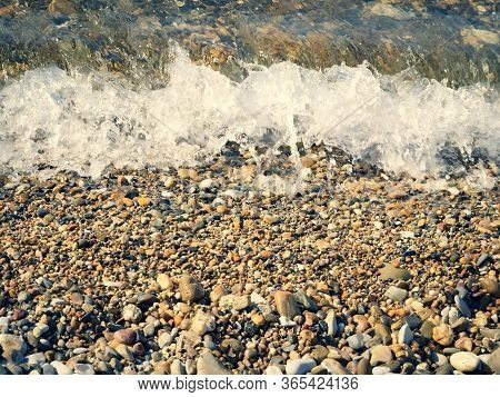 Beautiful Summer Landscape. Background With Small Pebbles. Multi-colored Sea Pebbles Covered With Cl