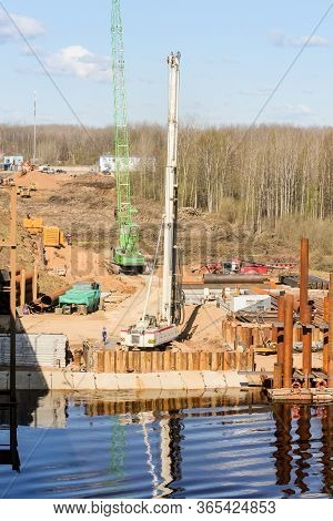 Kirishi, Russia - 8 May, Build A Platform On The Banks Of The River, 8 May, 2020. Start Of Construct