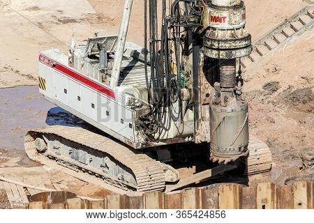 Kirishi, Russia - 8 May, Big Drill For Drilling Wells, 8 May, 2020. Start Of Construction Of A Motor