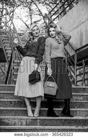 Sweater Skirt Trend. Completing Each Other. Vogue Concept. Girls Blonde Wear Matching Clothes. Match