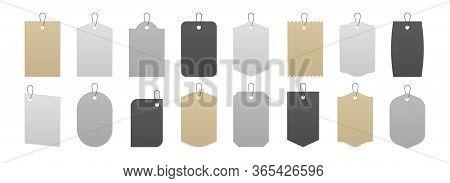 Tag Mockup. Realistic Price Labels And Gift Box Cardboard Tags, Blank White Gray And Kraft Carton Sa