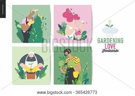 Gardening People, Spring - Modern Flat Vector Concept Illustrated Greeting Cards Of People In The Ga