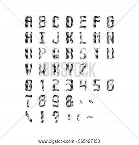 Pixel Cubic Monochrome Latin Font. Letters, Numbers And Symbols