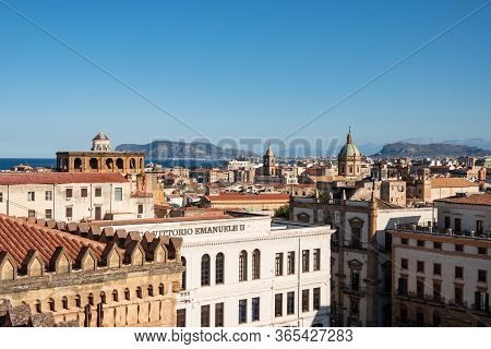 Palermo, Sicily - February 8, 2020: Liceo Classico Vittorio Emanuele Ii University From The Roof Of