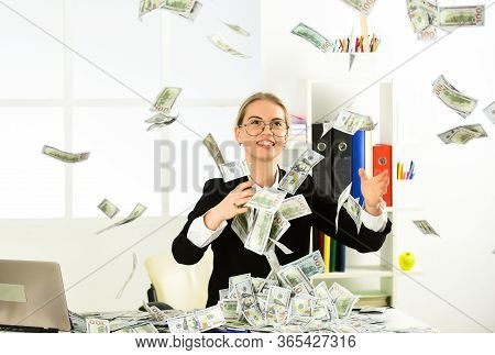 Strategies To Boost Your Income. Woman Enjoy Money Falling From Above. Passive Income Streams Requir