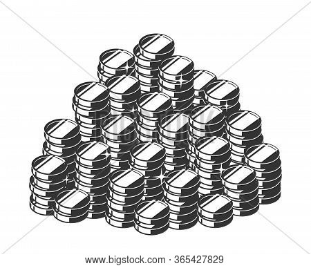Silhouette Of A Heap Of Coins, A Pile Of Treasure. Vector Isometric Illustration