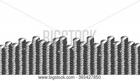 Silhouettes Of Coin Columns At The Bottom And Copyspace Above Them. Vector Isometric Illustration