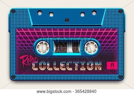 Relistic Bright Blue Audio Cassette, Retro Collection, Mixtape In Style Of 80s And Retrowave, Synthw