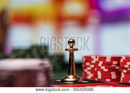 Roulette dolly marker at the casino gambling table