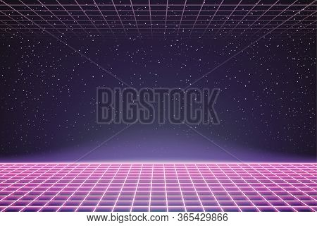 Laser Grid In Deep Space. Retro Futuristic Template In 80s Style. Synthwave, Retrowave, Vaporwave Th