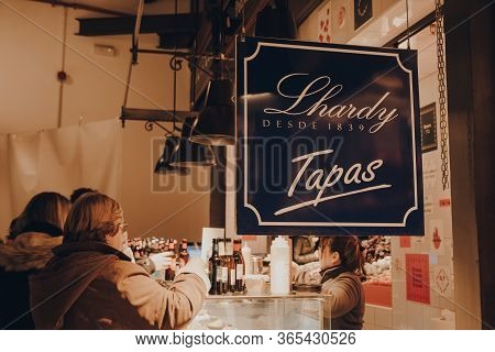Madrid, Spain - January 26, 2020: Sign At Lhardy Tapas Stand Inside Mercado De San Miguel (