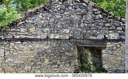 Antique Stone Wall Texture On Old Wine House