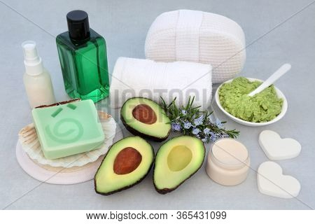 Natural vegan beauty treatment for skincare with avocado face mask, rosemary herb, ex foliation mineral salts, moisturising cream & lotion with cleansing products.