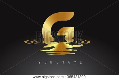 Golden G Letter Logo Design With Water Effect Vector Illustration. Template G For Brand-name Compani