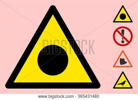 Vector Accident Black Circle Flat Warning Sign. Triangle Icon Uses Black And Yellow Colors. Symbol S