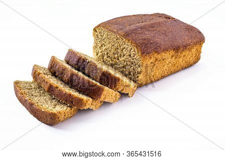 Vegan Banana Bread Isolated On White Background. Healthy, Gluten-free, Vegetarian Bread.