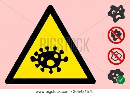 Vector Amoeba Flat Warning Sign. Triangle Icon Uses Black And Yellow Colors. Symbol Style Is A Flat