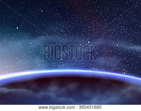 Vector Illustration Of Blue Planet And Sunrise In Deep Starry Outer Space