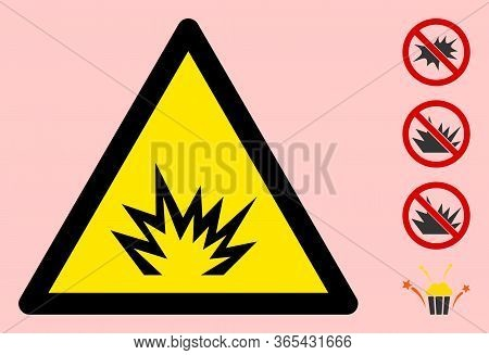 Vector Bang Flat Warning Sign. Triangle Icon Uses Black And Yellow Colors. Symbol Style Is A Flat Ba